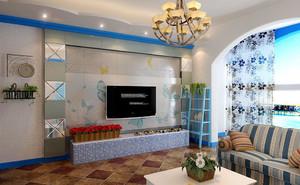 90平米地中海风格客厅电视背景墙设计效果图