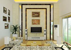 简欧风格别墅客厅电视背景墙装修效果图