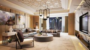 后现代风格三居室客厅沙发背景墙设计效果图