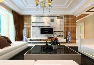 125平米现代风格客厅电视背景墙设计效果图