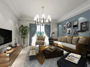 120平米简欧风格客厅照片墙设计效果图赏析