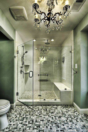 欧式风格大户型卫生间玻璃隔断设计效果图