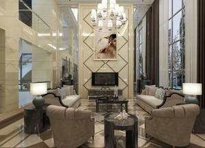 560平米欧式风格别墅客厅电视背景墙装修效果图