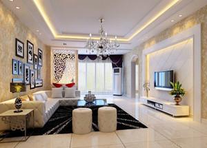 110平米欧式风格客厅照片墙设计效果图赏析