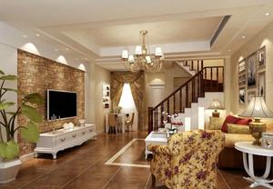 欧式田园风格复式楼客厅吊顶装修效果图