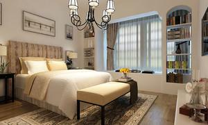 现代美式风格三居室卧室飘窗设计效果图