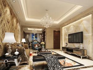 欧式风格二居室客厅大理石电视背景墙装修效果图