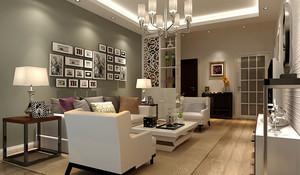 100平米现代简约风格客厅照片墙设计效果图
