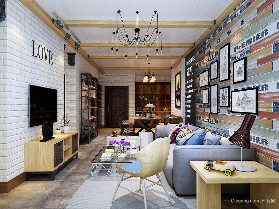 93平米北欧风格客厅沙发背景墙设计效果图图片
