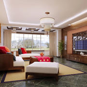 120平米中式风格客厅电视背景墙设计效果图