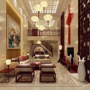 中式风格别墅客厅吊顶装修设计效果图赏析