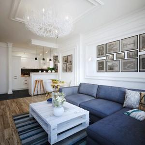 80平米现代简约风格两室两厅室内装修效果图