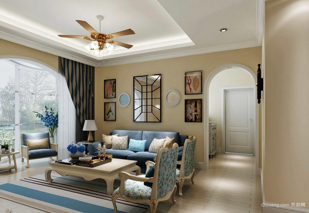 地中海风格三居室客厅装修效果图赏析