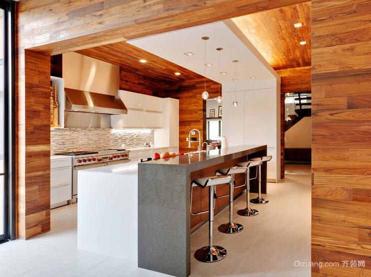 13平米后现代风格开放式厨房吧台设计效果图