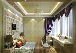 27平米欧式风格卧室窗帘设计效果图赏析