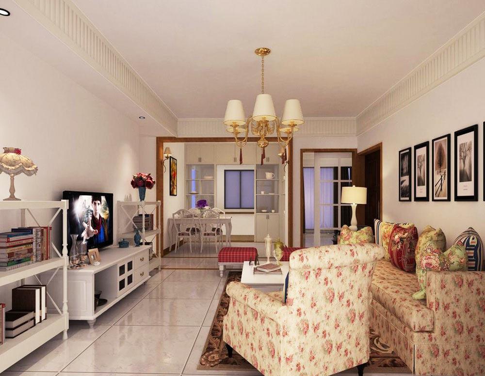 欧式田园风格二居室客厅吊顶装修效果图赏析