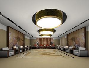 118平米中式风格会客厅装修效果图