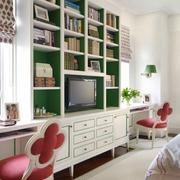 简欧风格小户型客厅时尚书柜设计效果图