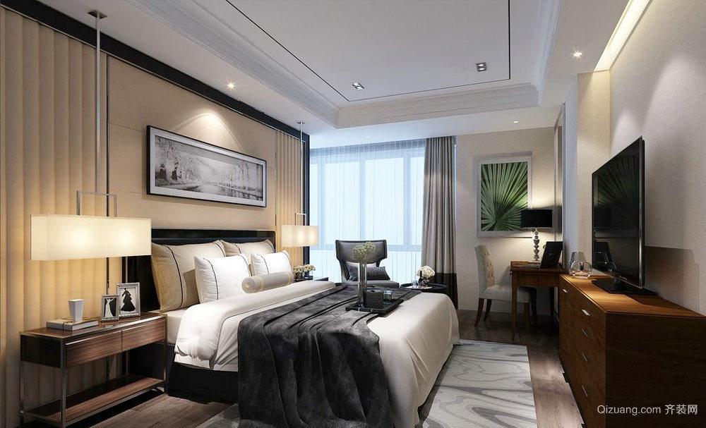 后现代风格三居室卧室背景墙装修设计效果图