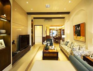 128平米现代风格客厅沙发背景墙设计装修效果图