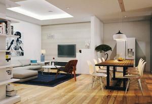 60平米现代简约风格两室两厅室内装修效果图