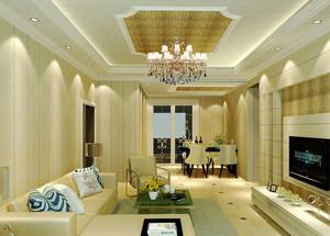 现代简约风格二居室客厅吊顶装修效果图