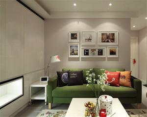 55平米现代田园风格一居室小户型装修效果图