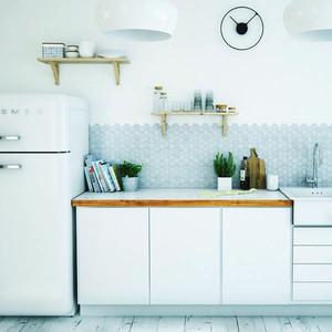 北欧风格一居室开放式小厨房装修效果图