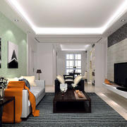后现代风格小户型客厅电视背景墙设计装修效果图