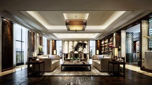140平米新中式风格客厅吊顶装修设计效果图