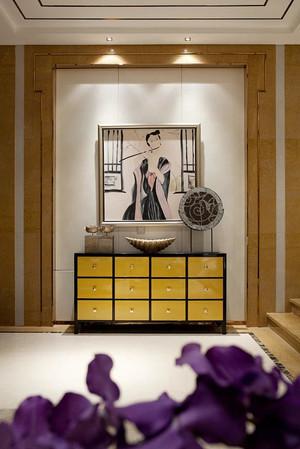 新中式风格大户型客厅玄关设计装修效果图