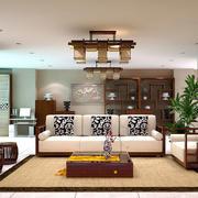 中式风格三居室客厅博古架设计效果图赏析