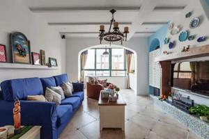 132平米经典蓝地中海风格复式楼室内装修效果图