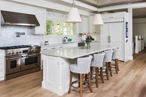 90平米美式风格开放式厨房吧台设计装修效果图