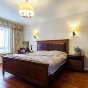 复古美式风格三居室卧室窗帘设计效果图