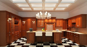 美式风格大户型厨房整体橱柜设计效果图