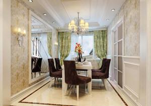 精致典雅欧式风格大户型室内餐厅窗帘设计效果图