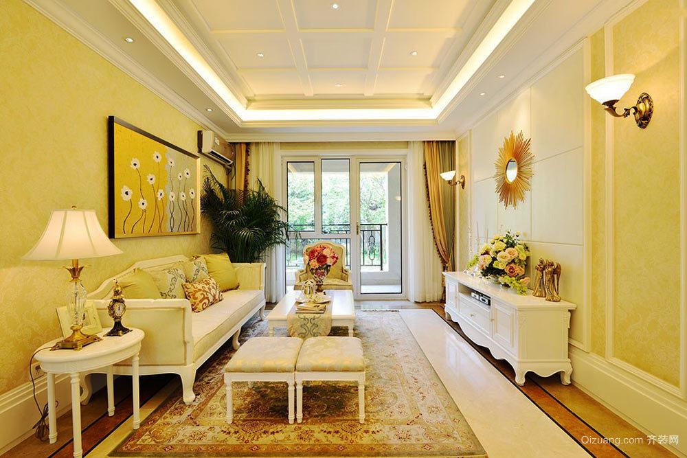 欧式田园风格二居室客厅吊顶装修设计效果图