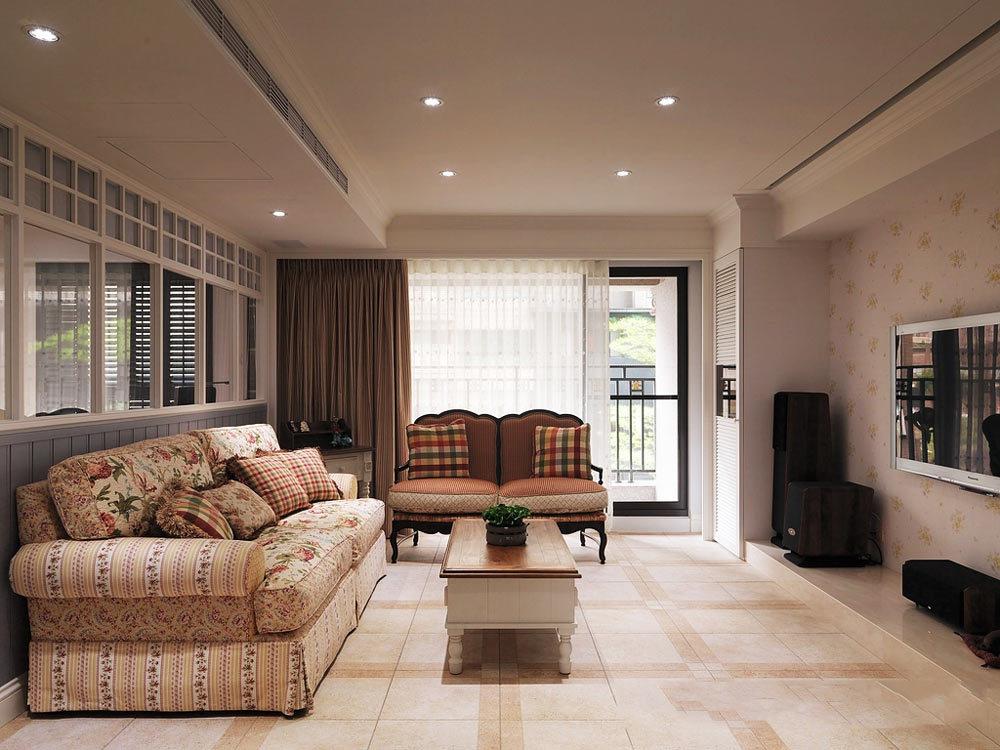 美式田园风格小户型客厅沙发设计效果图赏析