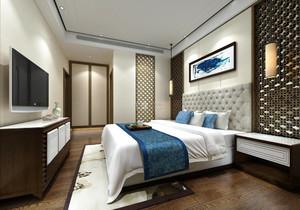 中式风格大户型室内卧室背景墙装修效果图