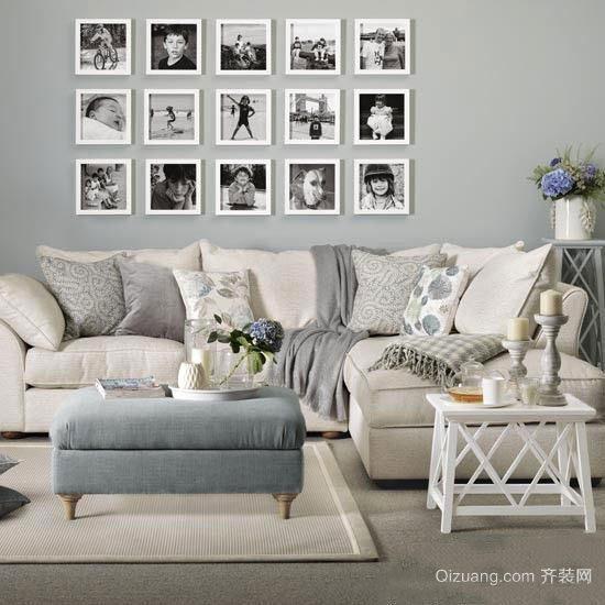 北欧风格客厅时尚照片墙设计效果图赏析