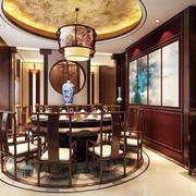 中式古典风格大户型室内餐厅圆形吊顶设计效果图