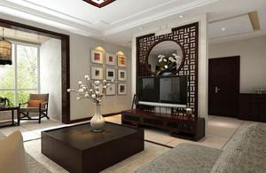 中式风格三居室室内客厅隔断墙装修效果图