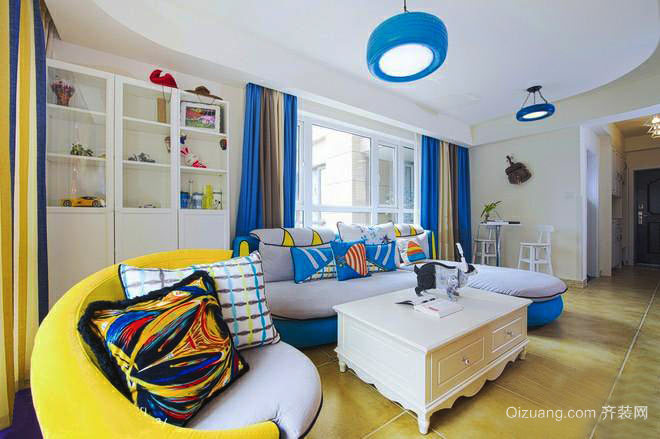 明亮舒适小户型地中海风格客厅窗帘设计效果图