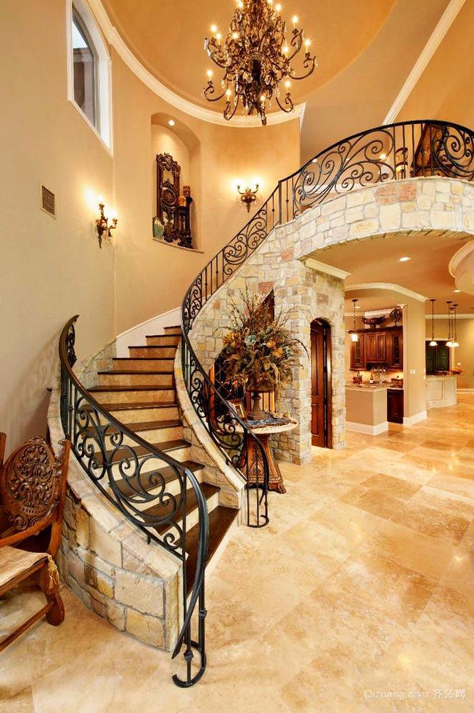 复古欧式风格别墅室内铁艺楼梯扶手装修效果图