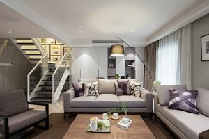 156平米简约后现代风格复式楼室内装修效果图