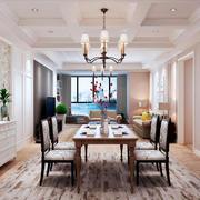 简欧风格大户型室内餐厅背景墙装修效果图赏析