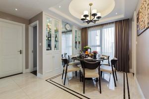 简欧风格两居室室内餐厅圆形吊顶装修效果图