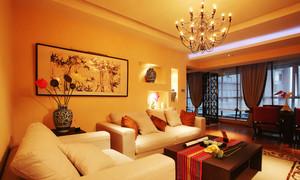132平米新中式风格客厅沙发背景墙设计效果图