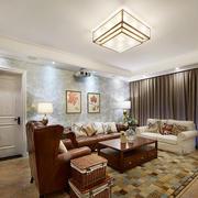 78平米现代简约风格客厅墙纸装修效果图赏析